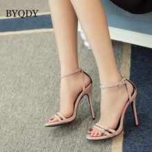 BYQDY Designer Buckle Strap Summer Strip Narrow Band Sandals Thin High Heels Party Gladiator Shoes Women Sexy Black
