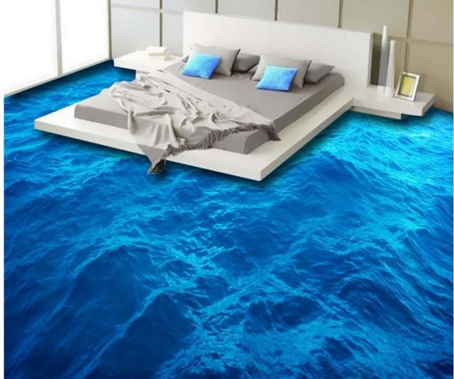 Beautiful Ocean Surface Waves Mural 3d Floors Pvc Waterproof Floor Beach Wall Stickers In