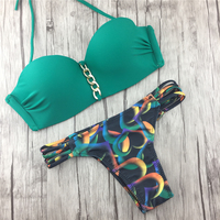 2017 New Bikini Women Swimsuit Low Waist Green With Golden Line Swimwear Push Up Bikini Set