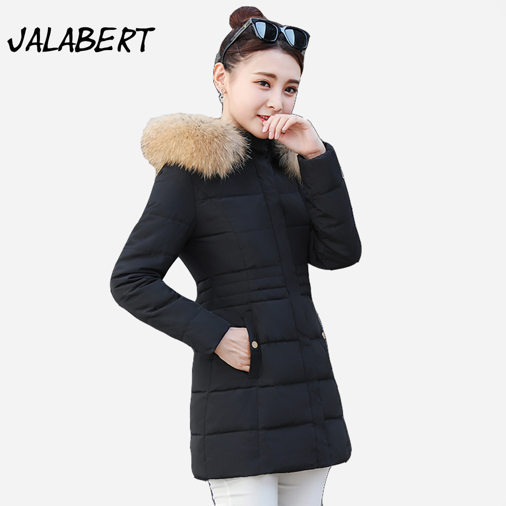 2017 new winter cotton coat Women' long Slim thick jacket Female fashion Hooded Big Fur collar warm Parkas overdress 2017 new winter fashion women down jacket hooded thick super warm medium long female coat long sleeve slim big yards parkas nz18