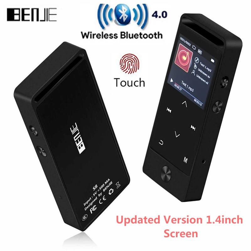 2019 Latest Version Bluetooth MP3 Music Player Touch Button Original BENJIE S8 Lossless Sound Support FM Radio Micro SD Card