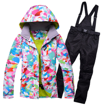 2019 Ski Suit Women Set Windproof Waterproof Warmth Clothes Jacket Ski Pants Snow Clothes Winter Skiing And Snowboarding Suits winter ski suit women brands 2018 ski jacket and pants snow warm waterproof windproof skiing and snowboarding suits