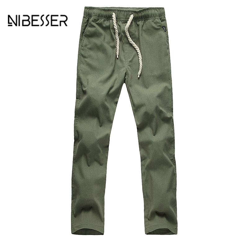 NIBESSER Mens Quick Dry Linen Trouser Summer Beach Pants Solid Fitness Straight Pants Plus Size Lightweight Drawstring Pants