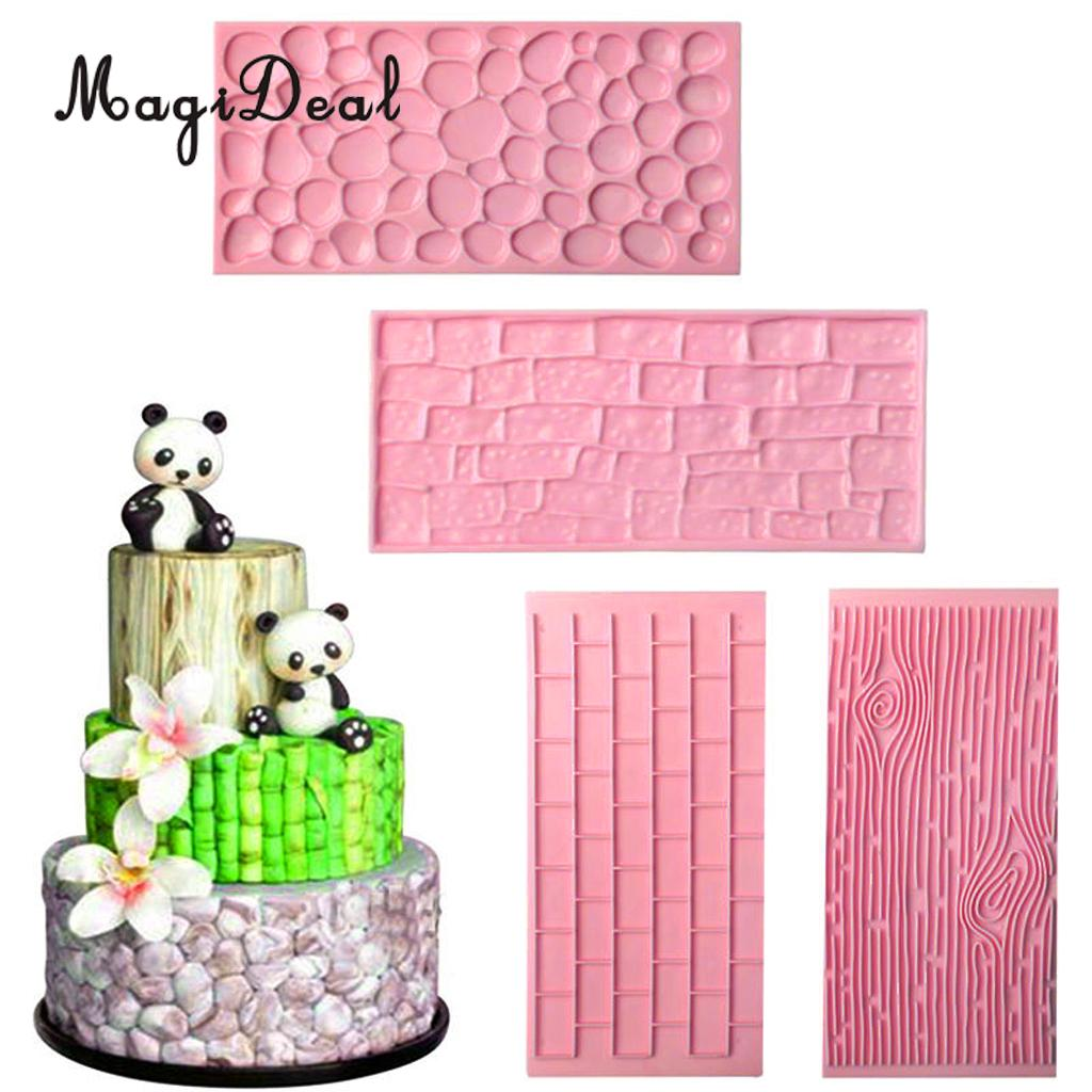 MagiDeal 3D Silicone Stone Wall Mold Fondant Soap Making Mold Cake Decorating Mould