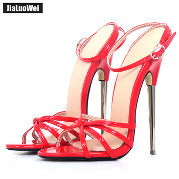 Fetish GiaroSlick New 2018 Fashion Ankle Strap Pointed Toe Women Shoes Metal Thin Heels High-Heeled Shoes unisex sandals