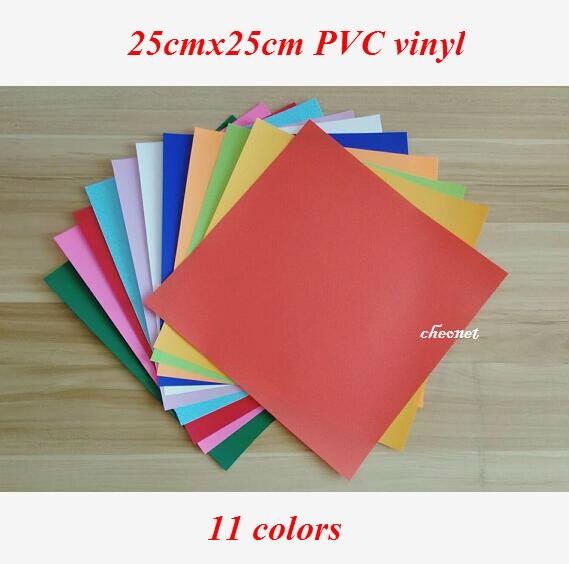 Free shipping 11 sheetscolors 25X25CM PVC Heat Transfer Vinyl Iron on vinyl Heat Press Machine Cutting Plotter HTV T-shirt DIY