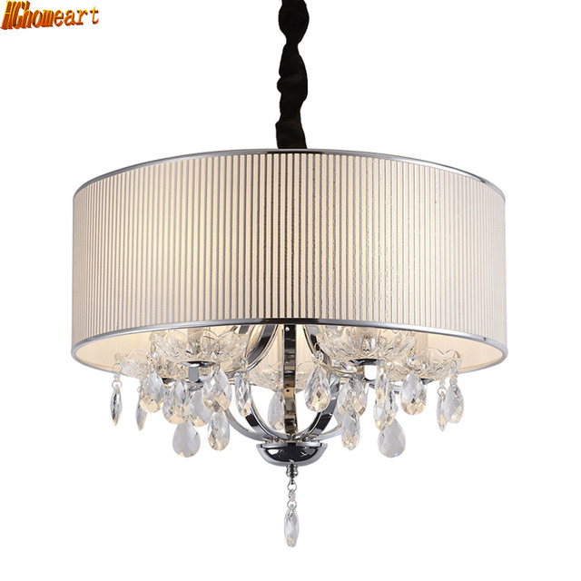 HGhomeart Modern Simple LED Fashion Chandelier Foyer Restaurant Bedroom Study Stairs K9 Crystal Round Fabric