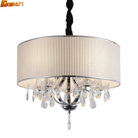 HGhomeart Modern Simple LED Fashion Chandelier Foyer Restaurant Bedroom Study Stairs K9 Crystal Round Fabric Chandelier
