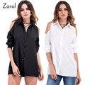 2017 New Spring Strapless Women's Blouses Blouse Blusas Female Long-sleeved Black White Top Women Shirt Plus Size Tops