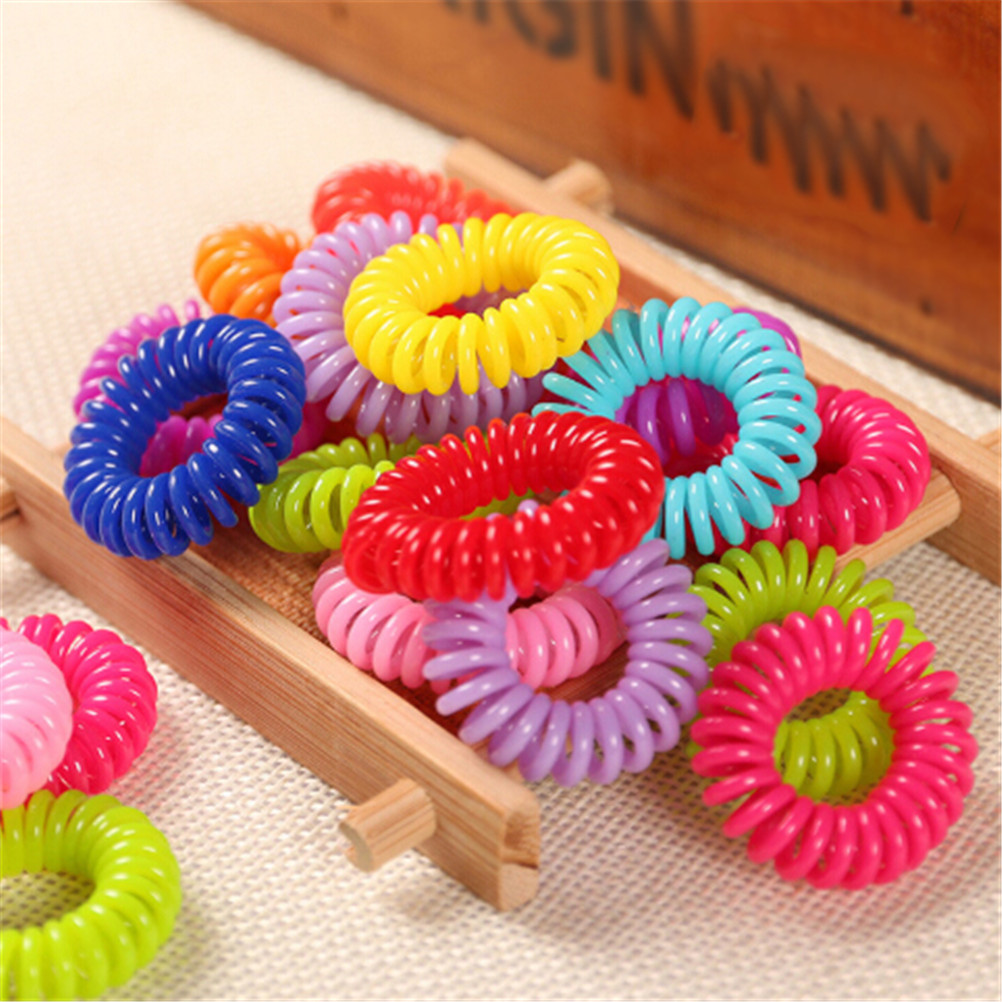 10PCS Hair Rope  Clear Telephone Wire Elastic Hair Bands Spring Gum For Hair Ties Coil Hair Tie Ponytail