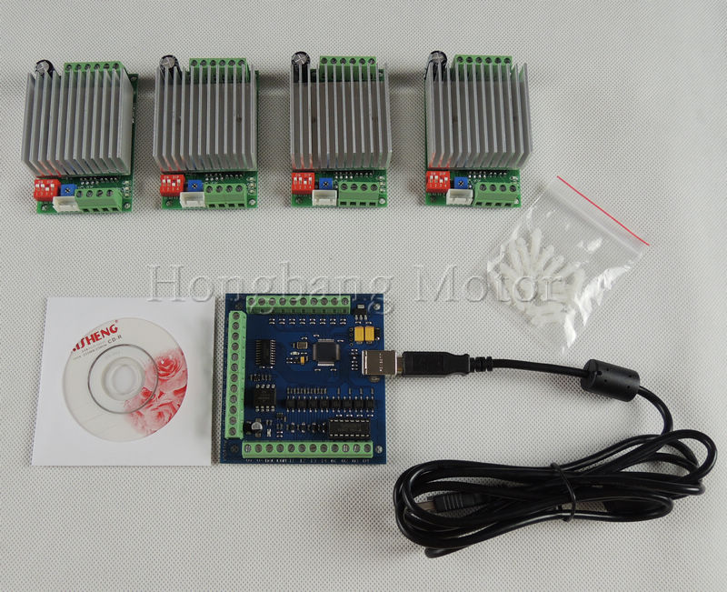 CNC mach3 4 Axis usb Kit, 4pcs TB6600 Single Axis Stepper Motor Driver Board+one mach3 4 Axis USB CNC Controller card 100KHz 24V устройство зарядное для телефона usb 1a черное