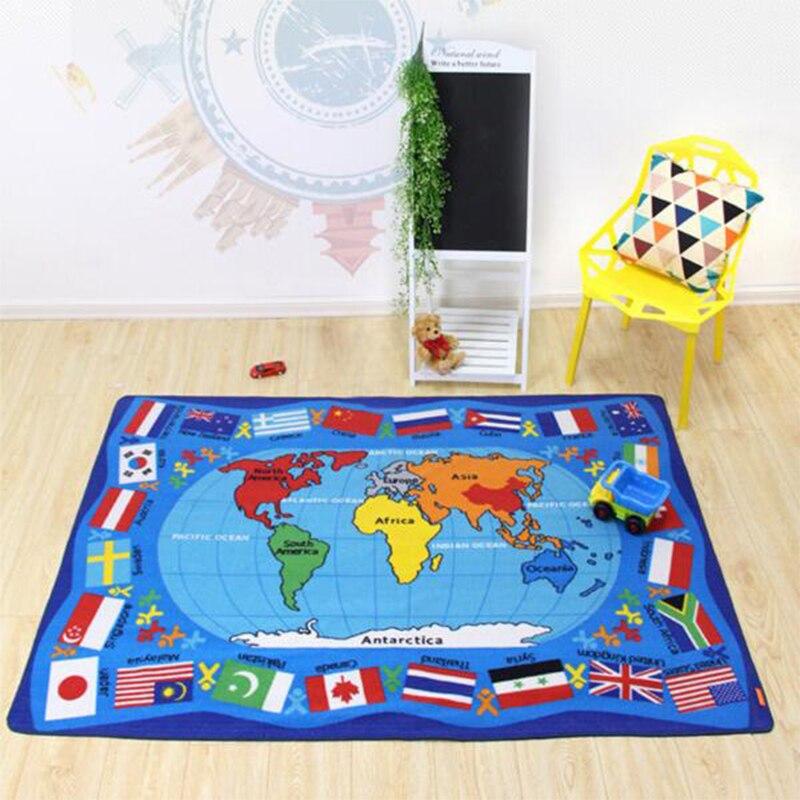 2017 Kinder Teppich Weltkarte Und Flagge Baumwolle Polyester Maschine Waschbar Rechteck Wohnzimmer Anti