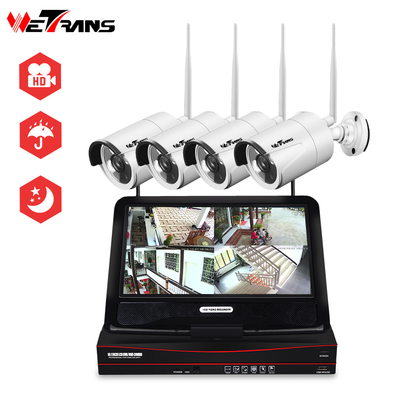 Wetrans Security Camera System Wireless CCTV Full HD 1080P Home Surveillance Outdoor IP Camera Wifi NVR LCD Display P2P Alarm