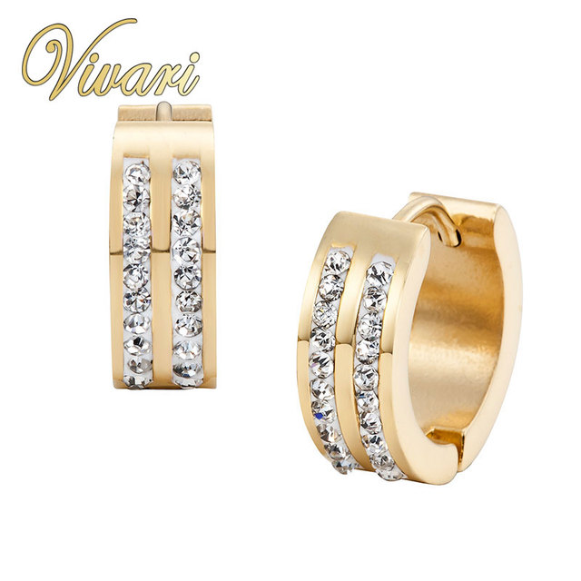 Vivari 2017 Women Gold White CZ Stones Gift Stainless Steel Ladies Jewellry Earrings Free Shipping Fast Delivery Accessories
