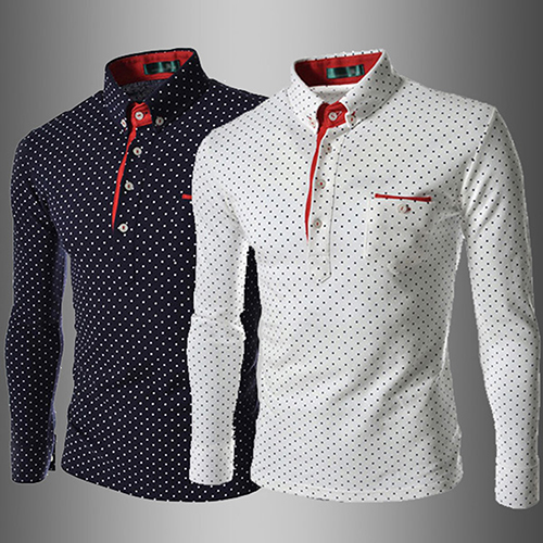 Men England Trendy Wave Point Self-Cultivation Long Sleeved Tide Shirts Top