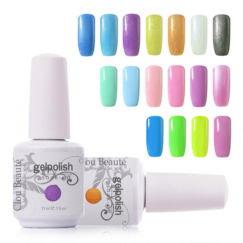 15 ml Clou Beaute Memilih 1 Warna Kuku Gel Polish Rendam Off UV Gel Kuku Dipimpin Lampu UV Gel Kuku Gel Polish Nail Art