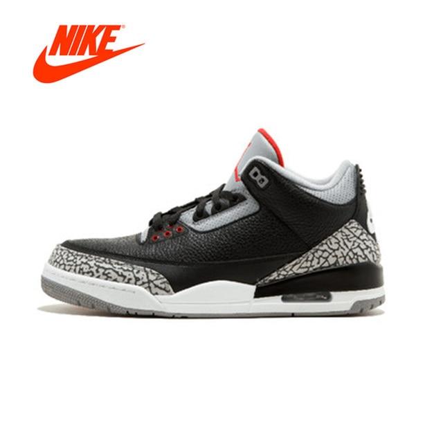 Official Original Nike Air Jordan 3 Black Cement AJ 3 Retro OG Men's  basketball shoes Outdoor