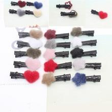 Фотография 5pcs Selling new win Autumn and winter mink plush ball love star hairpin plush women cute side clip jewelry Gift Christmas