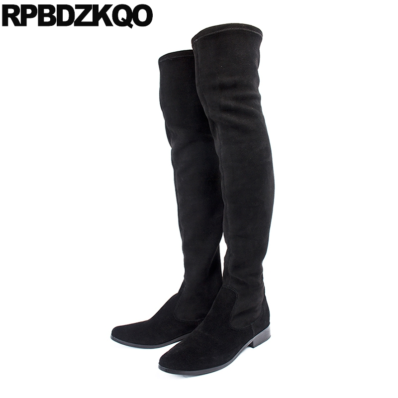 Boots Autumn Slim High Quality Chunky Long Fall Over The Knee Mid Calf Luxury Brand Shoes Women Black Thigh Slip On Stretch 2017 long pointed toe casual boots sock thigh high black luxury brand shoes women tall over the knee 2018 knit slim slip on stretch