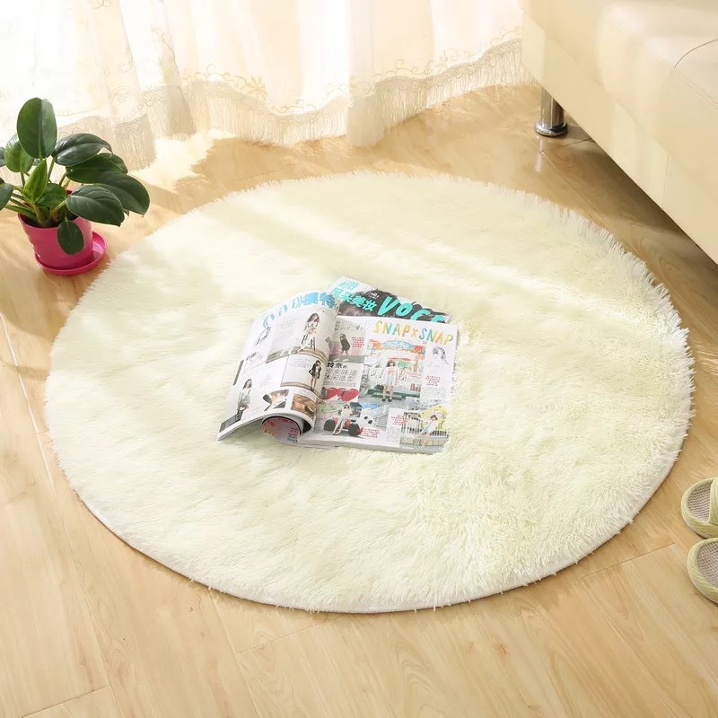 Modern Round Area Rug For Living Room Solid Polyester Carpet Kids Warm Hairy Rugs Bedroom Washable Floor Mat Home Decor
