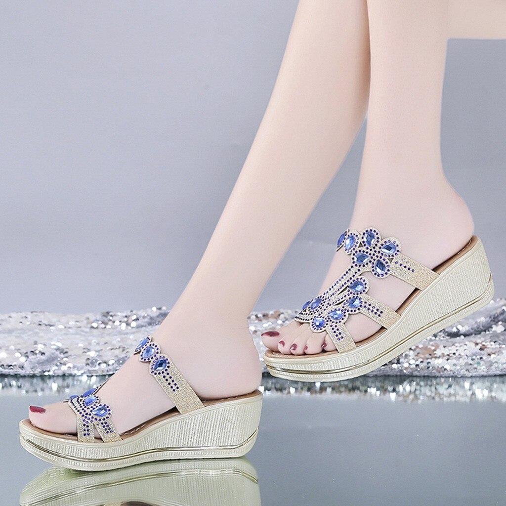 Xiniu Sandals Crystal Rhinestone Ladies Shoes High-Heel Bling Slippers Casual Summer