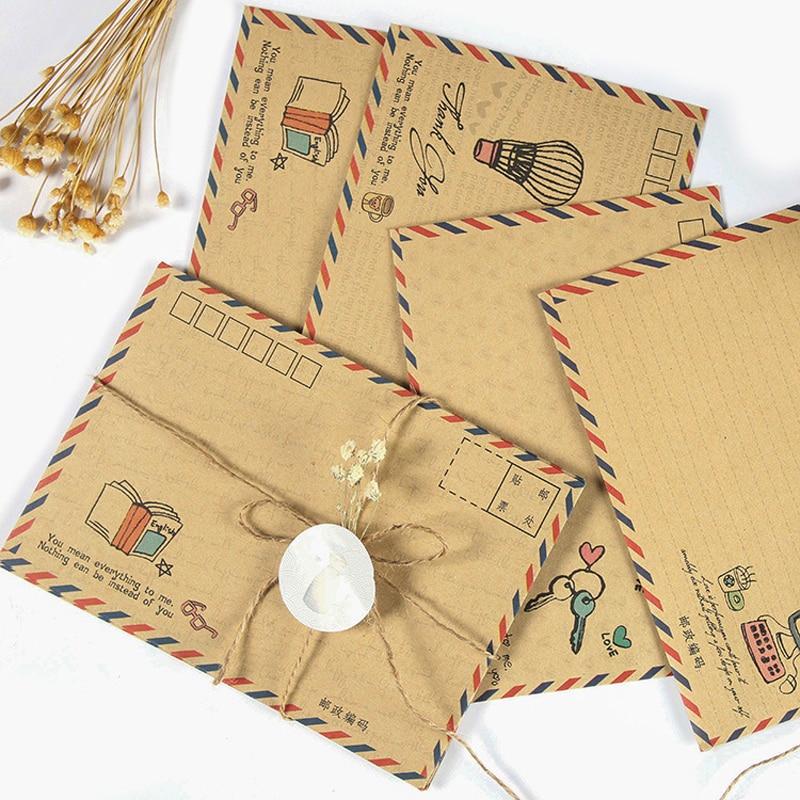 16 Pcs/lot Vintage Large Envelope Postcard Letter Stationery Paper Airmail Retro School Office Gifts Kraft Envelopes