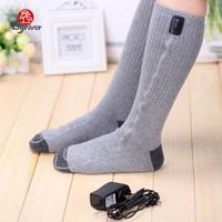 5V USB Electric Heated Socks Rechargable Thermal Massage Socks, Winter Heating Warming Calf Skiing Stockings Hose Foot Warmer