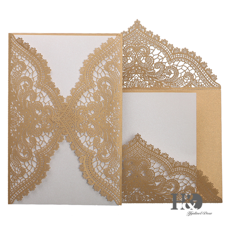 60pcs New Champagne Wedding Invitation Cards With Custom Personalized  Printing Laser Cut Invitations And Hollow Part