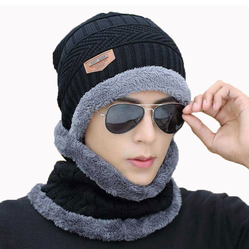 Winter Men Hat And Scarf Set For Women Cap Ring Scarves 2 Pcs Suit Soft Stretch Cable Knitted Beanie Icon Cap Adult Warm Suit