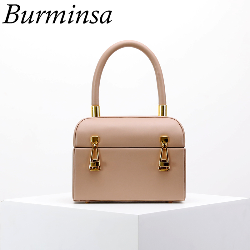 Burminsa Chic Mini Box Women Genuine Leather Handbags Cow Vintage Luxury Tote Bags Ladies Designer Evening