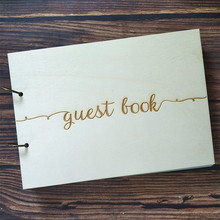 Modern Wedding Guest Book Wooden Guestbook Personalised Wood Rustic Books Support Custom