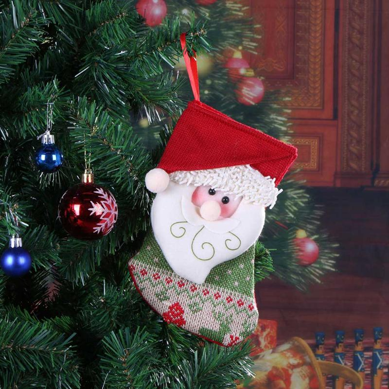 Christmas Tree Pendant Gifts Bag decoration for Home Santa Snowman Socks Candy Bags Christmas New Year Decoration