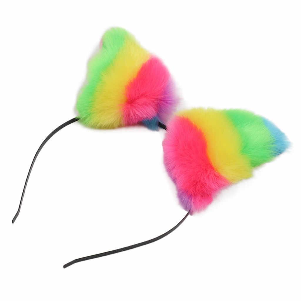 Colorido pelo peludo garra Patchwork mujeres diademas diadema de oreja de zorro diadema gato traje con diadema accesorios opaska do wosow # ZC