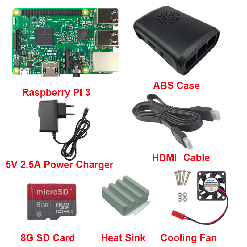 Raspberry Pi 3 B+ 5V 2.5A Power Supplyr+ Case +Heat Sink +Cooling Fan + HDMI Cable + 8GB TF Card For Raspberry Pi 3 Model B 10 in 1 raspberry pi 3 abs case 8gb sd card gpio adapter 2pcs heat sink hdmi cable 2 5a power adapter with switch cable for pi 3