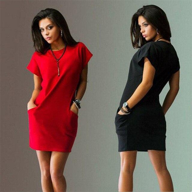2018 новые летние модные женские туфли Костюмы Повседневное короткий рукав o-образным вырезом цвет: черный, синий Платья для женщин узкий карман Bodycon Футболка Платье Vestidos