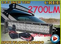 Free DHL UPS Fedex Ship 13 5 72W 2700LM 10 30V 6500K LED Working Bar Curved