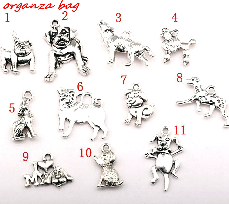Hot Sale ! 11 Pcs Antique Silver Zinc Alloy Mixed Dog Charm Pendant Jewelry DIY cx55