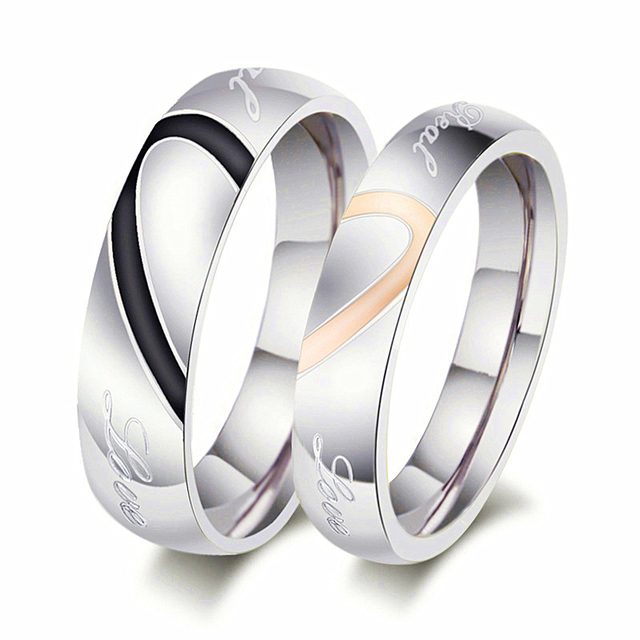 Split Heart His and Hers Ring For Couple Titanium Stainless Steel