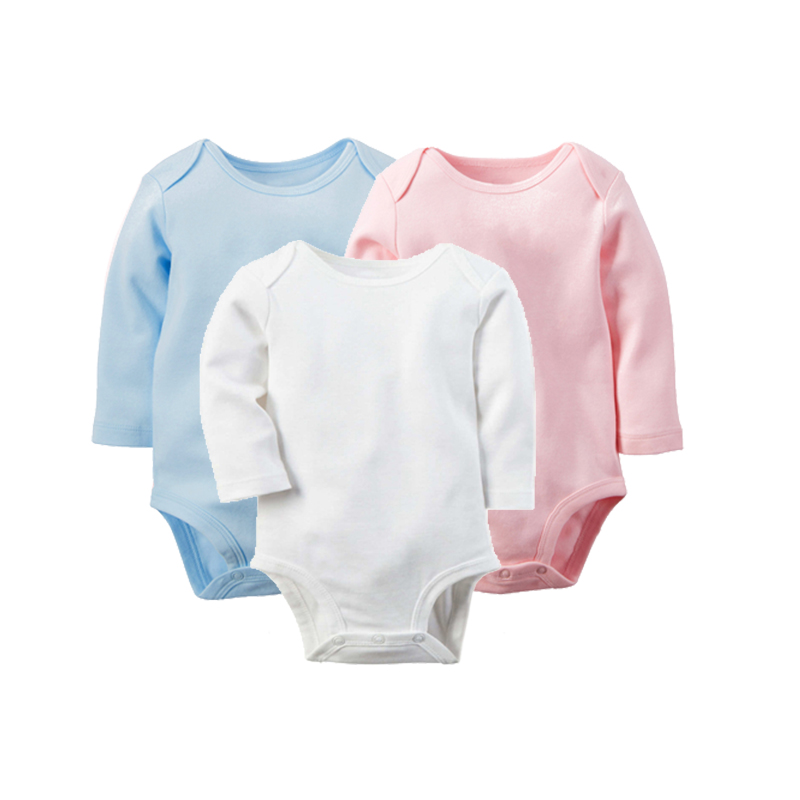 100%Cotton 3Pcs/Lot Baby Rompers Winter Long Sleeve Baby Boys Clothing Solid Color O-Neck Jumpsuit Baby Girls Pajamas Clothes mother nest 3sets lot wholesale autumn toddle girl long sleeve baby clothing one piece boys baby pajamas infant clothes rompers