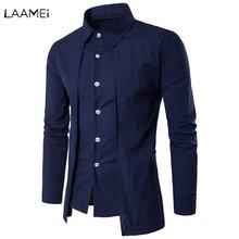 Laamei Streetwear Long-sleeved Men's Shirt Slim Solid Color