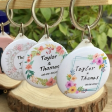 50pcs Personalized name date Keychain with Mirror Custom Wedding Favors And Gifts For Guests Souvenirs