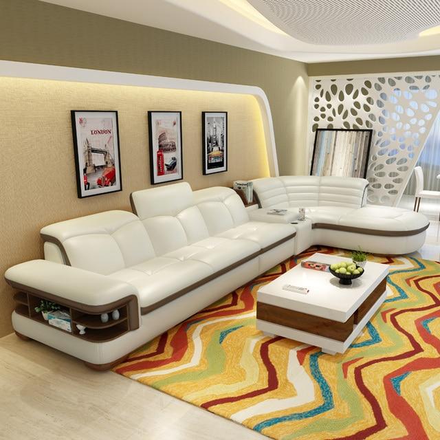 (2 places 1 bras + salon) canapé coner moderne en cuir reconstitué avec l  forme # CE-K04