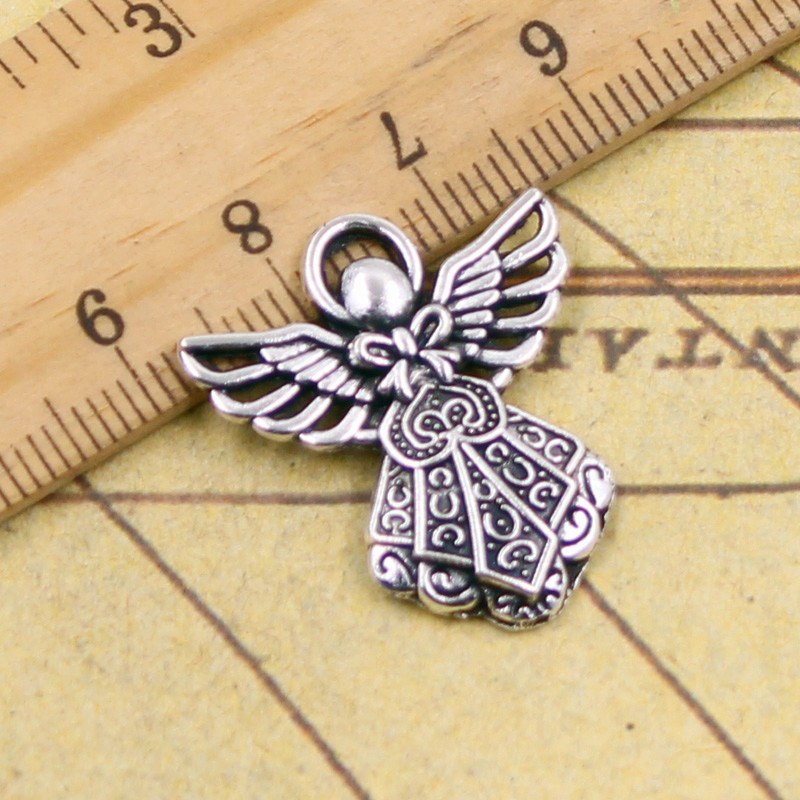 10pcs Charms guardian angel 26*23mm Tibetan Silver Plated Pendants Antique Jewelry Making DIY Handmade Craft