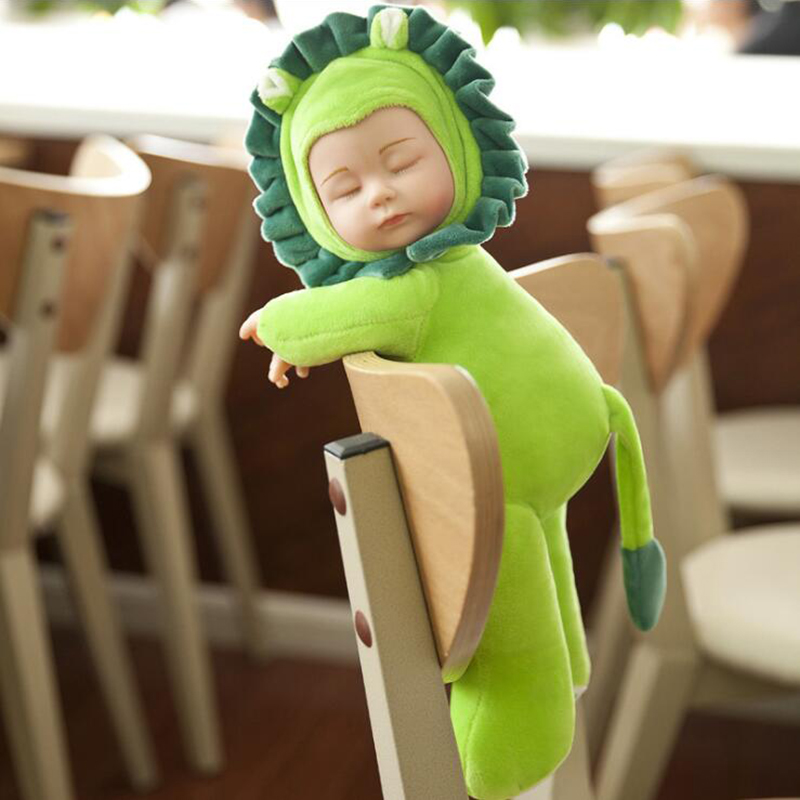 40cm Sleeping Baby Dolls Reborn with Cute Animal Doll Clothes Children Playmate Bed Toys Silicone Reborn Baby Dolls with Music