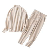 cashmere cotton wool blend thick knit women fashion sweatshirts tracksuit pullover pant 2pcs/set beige 4color S XL