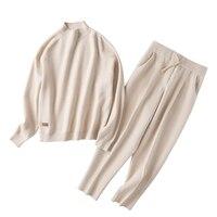 cashmere cotton wool blend thick knit women fashion sweatshirts tracksuit pullover pant 2pcs/set beige 4color S XL