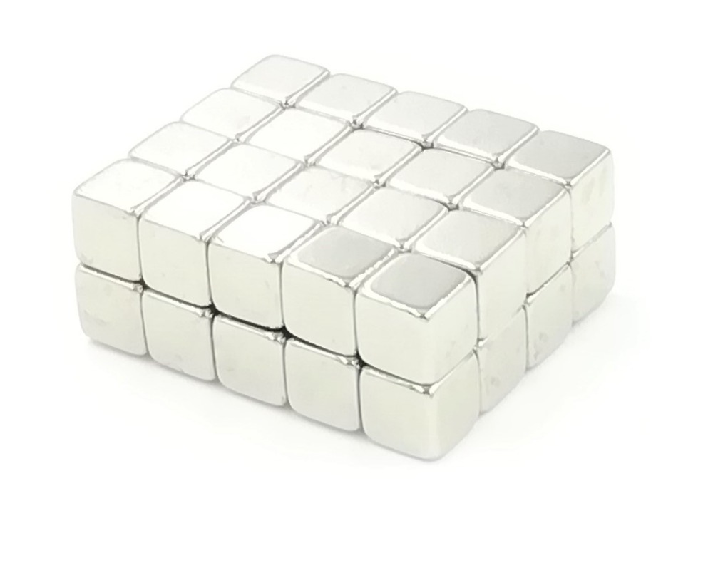 50Pcs <font><b>5x5x5</b></font> <font><b>Neodymium</b></font> <font><b>Magnet</b></font> Cube 5mm N35 Permanent NdFeB Super Strong Powerful Magnetic <font><b>Magnets</b></font> Square Buck Cube image