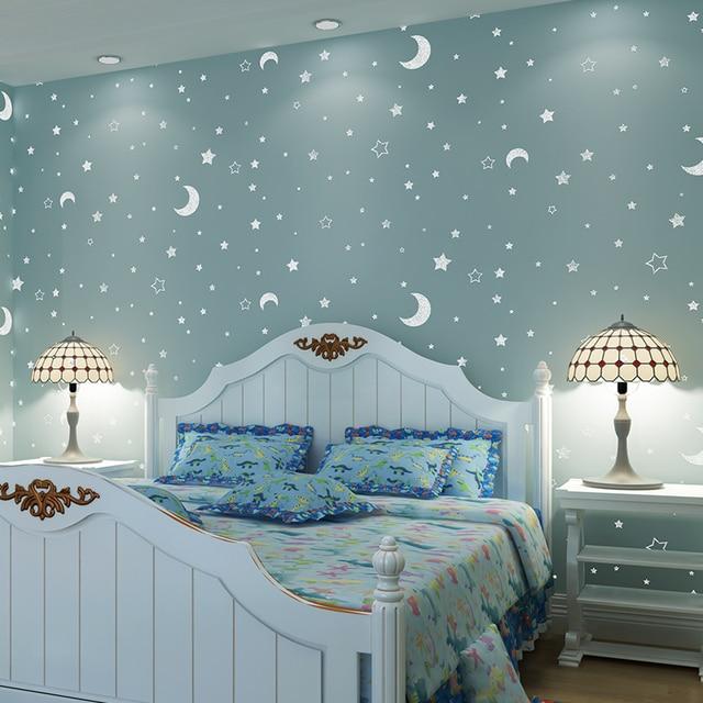 Tapete kinderzimmer sterne  Beibehang papel de parede leuchtende sterne vlies tapete ...