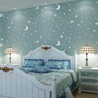Papel De Parede Luminous Stars Nonwoven Wallpaper Backdrop Bedroom Children S Room Full Of Shops Wallpaper