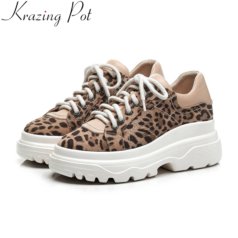 Krazing Pot classic leopard genuine leather sneakers lace up thick bottom platform round toe casual wome vulcanized shoes L12